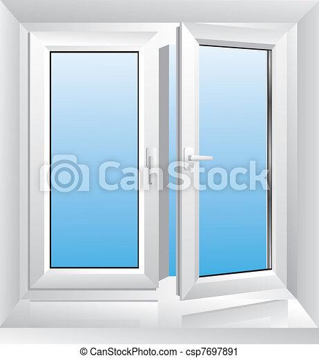 Una ventana de plástico blanca - csp7697891