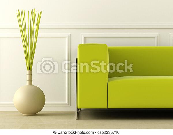 Un sofá verde en la habitación blanca - csp2335710