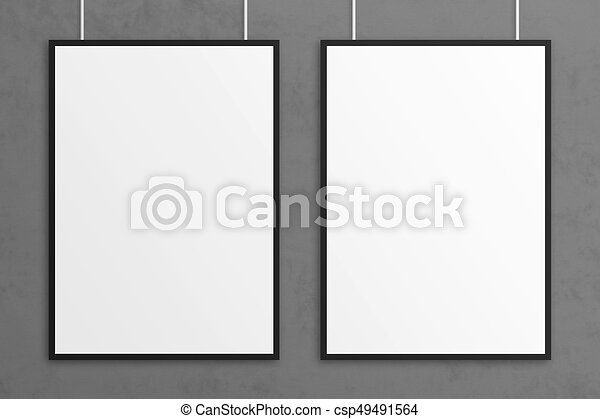 Blank 3d illustration poster mockup with frame. Blank 3d ...