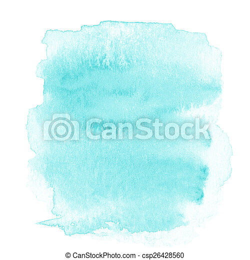 Blank Abstract light blue watercolor background isolated on whit - csp26428560