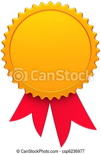blank award ribbon golden wirh red award medal golden with red