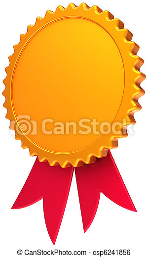 Blank award ribbon golden with red - csp6241856