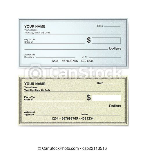 Blank Bank Check Template Isolated On White Vector Clip Art  Search