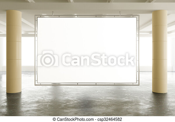 Blank banner in sunny spacious hangar area with concrete floor, mock up - csp32464582