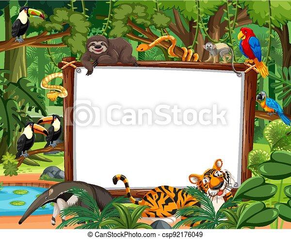 Blank banner in the rainforest scene with wild animals - csp92176049