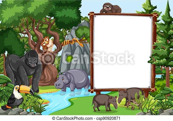 Blank banner in the rainforest scene with wild animals - csp90920871