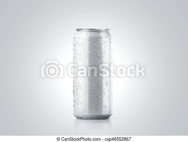blank big cold aluminium beer can mockup with drops 500 ml 3d