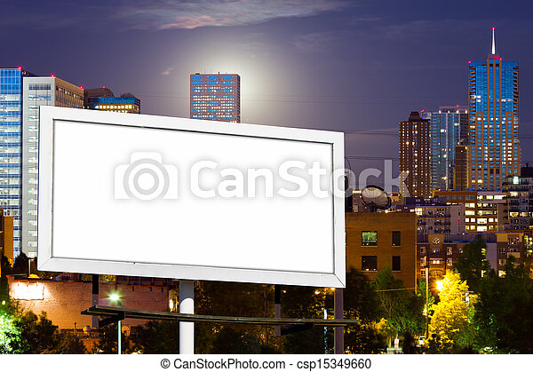 Blank Billboard Advertising Sign in Urban Cityscape - csp15349660