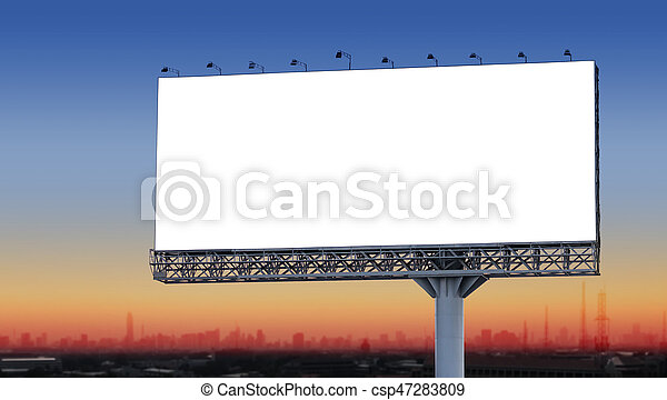 Blank billboard in the city at twilight - csp47283809