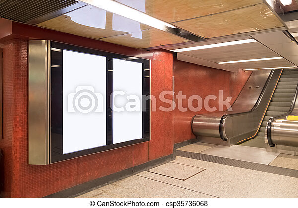 Blank billboard in the city - csp35736068