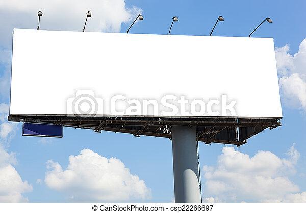 Blank billboard on blue sky background - csp22266697