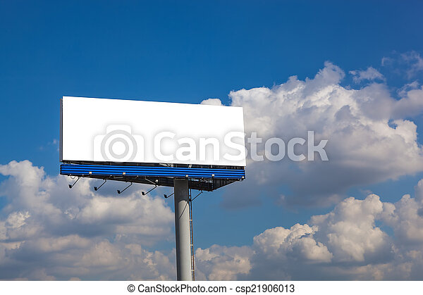 Blank billboard on blue sky with clouds - csp21906013