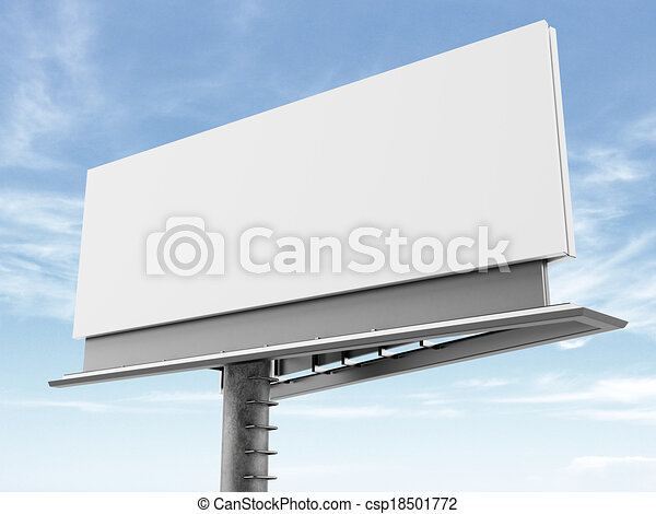 Blank billboard on the background of clouds - csp18501772