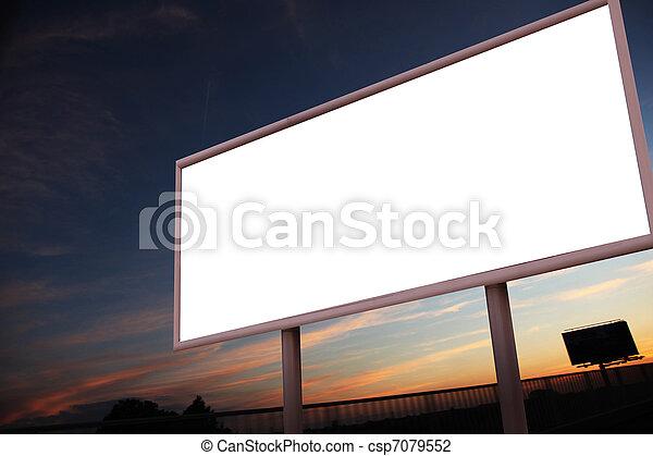 Blank billboard over city background - csp7079552