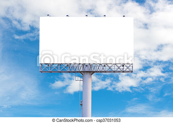 Blank billboard ready for new advertisement with blue sky background - csp37031053