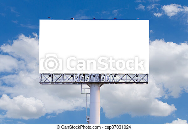 Blank billboard ready for new advertisement with blue sky background - csp37031024