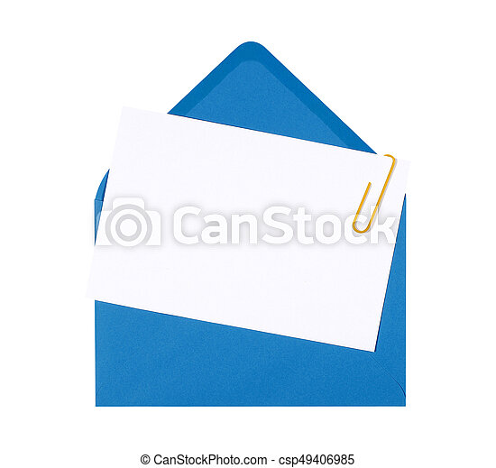 Blank birthday invitation card with blue envelope and yellow blank birthday invitation card with blue envelope and yellow paperclip copy space csp49406985 stopboris Image collections