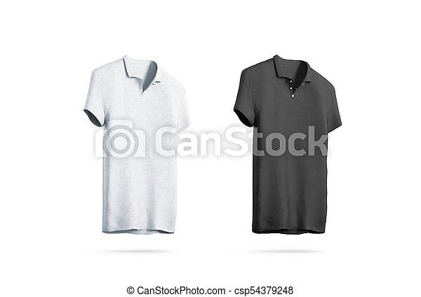 Blank Black And White Polo Shirt Mockup Isolated Front Side View