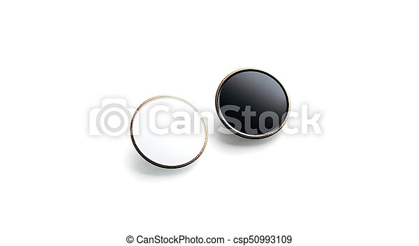 Blank Black And White Round Gold Lapel Badge Mock Up