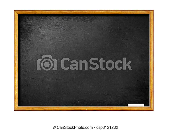 blank black board with wooden frame and piece of chalk - csp8121282