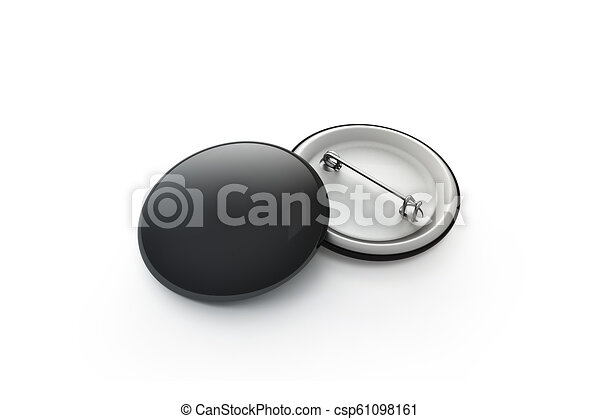 Blank black button badge stack mockup, isolated, clipping path,