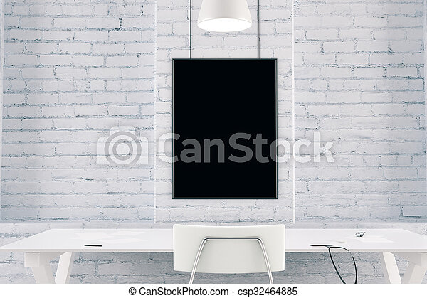 Blank black picture frame on a brick wall with table and chair, mock up - csp32464885