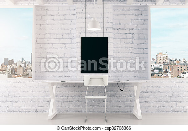 Blank black picture frame on white brick wall and windows in loft room, mock up - csp32708366