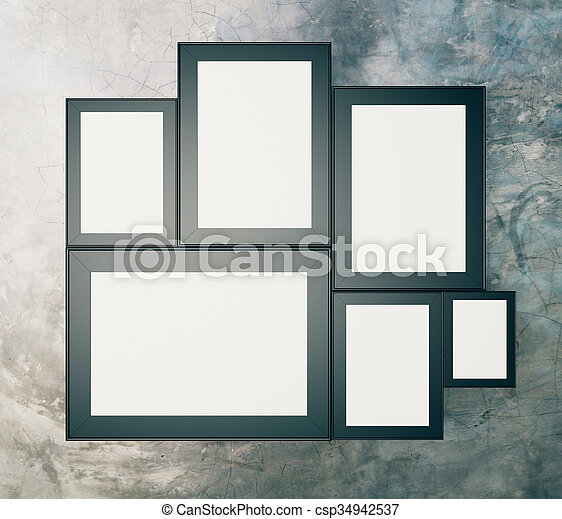 Blank black picture frames on concrete wall, mock up, 3d render.