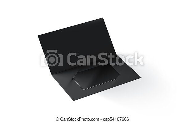 cardboard brochure holder template - blank black plastic card mockup inside paper booklet