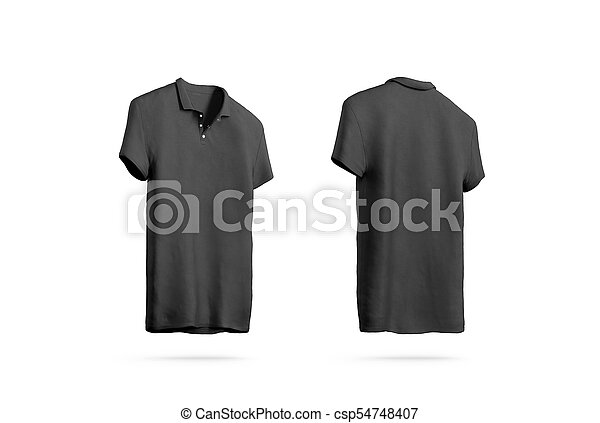 Blank Black Polo Shirt Mockup Isolated Front Back Side View