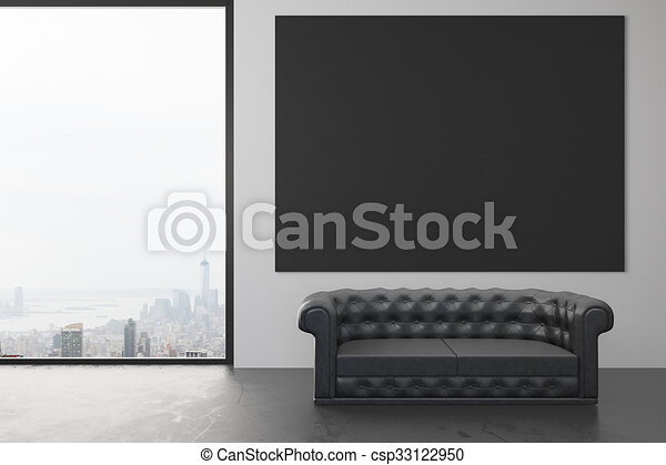 Cool Blank Black Poster On The Wall In Loft Room With Black Leather Sofa And Window In Floor Mock Up Machost Co Dining Chair Design Ideas Machostcouk