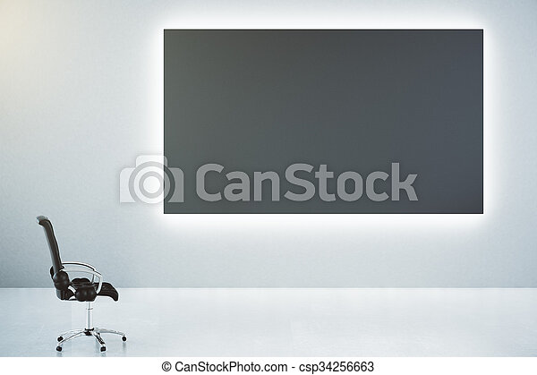 Blank black poster on white wall and classic leather chair, mock up - csp34256663