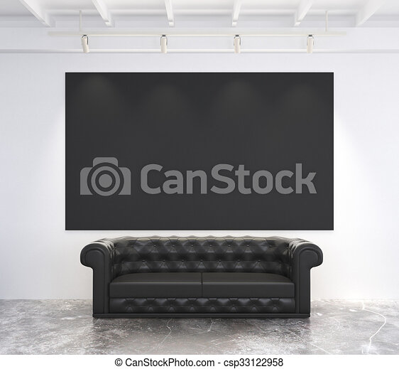 Phenomenal Blank Black Poster On White Wall In Loft Room With Black Leather Sofa Mock Up Machost Co Dining Chair Design Ideas Machostcouk