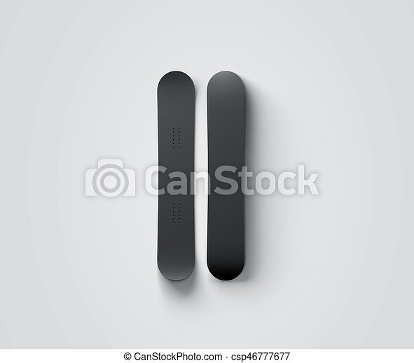 Blank Black Snowboard Design Mockup Isolated Front And Back Side