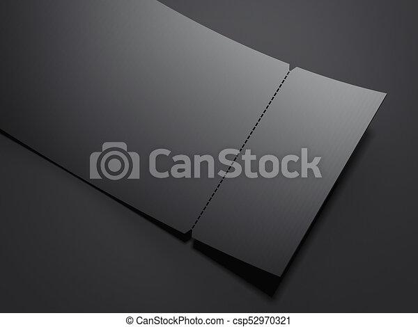 blank black tear off ticket 3d rendering blank black tear off