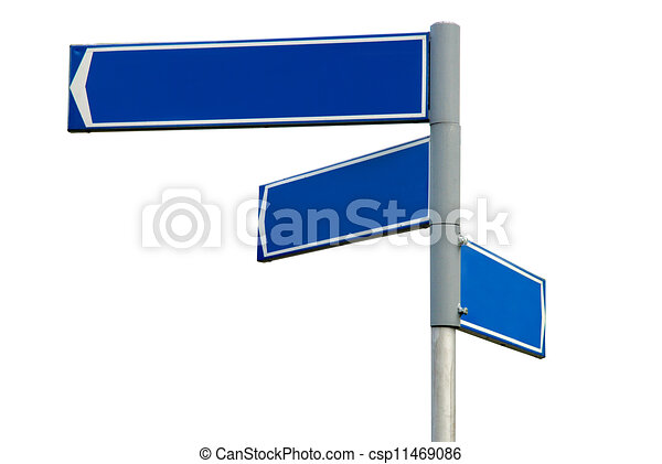 blank blue direction sign signpost blank blue direction sign with 3