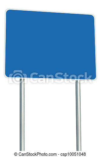 Blank Blue Road Sign Isolated, Large Perspective Copy Space - csp10051048