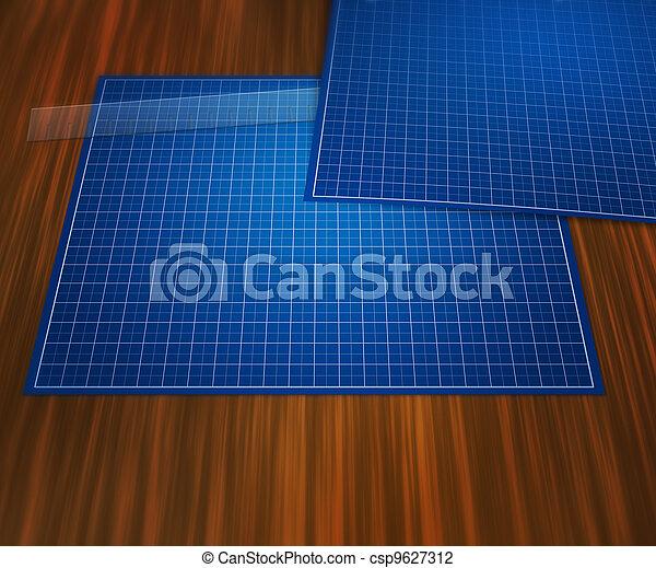 Blank blueprint on table background blank blueprint on table background csp9627312 malvernweather Gallery