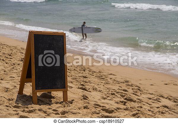 Blank board on the beach - csp18910527