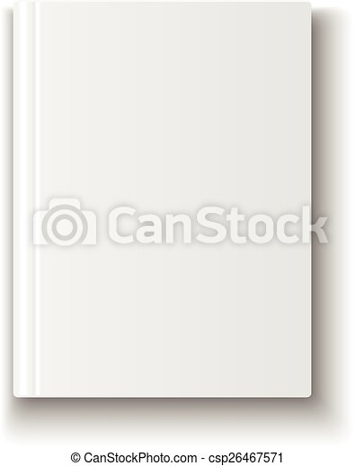 Blank book cover template on white background with soft shadows ...