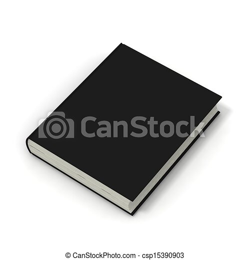 Blank book with black cover on white background. - csp15390903