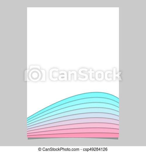 Blank Brochure Template From Curved Stripe Layers   Vector Page, Document  Design With 3d Effect  Blank Brochure
