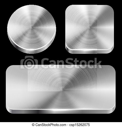 Blank brushed metal buttons - csp15262075