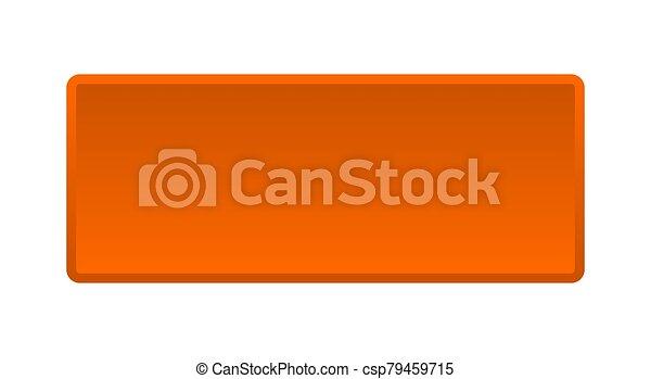 blank button. blank square orange push button - csp79459715