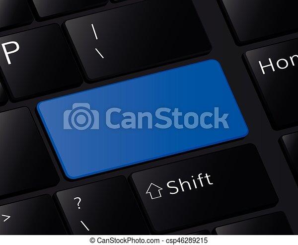 Blank button on keyboard Empty blue button frame - csp46289215
