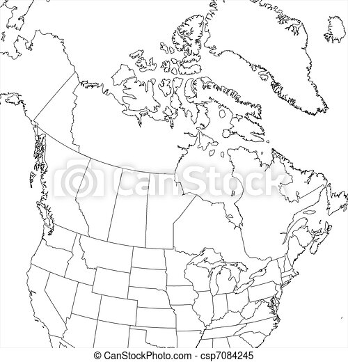 Usa and canada map black and white