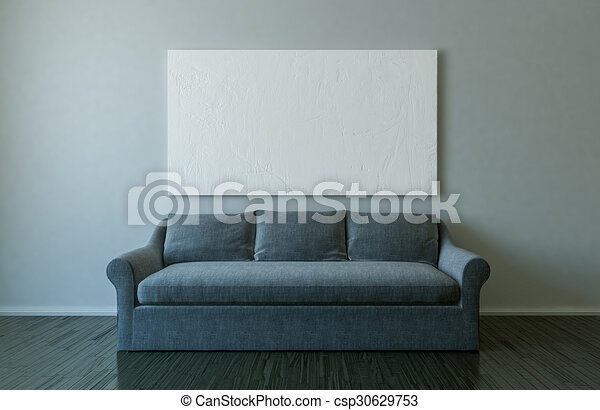 Blank Canvas And Sofa In Empty Room Mockup
