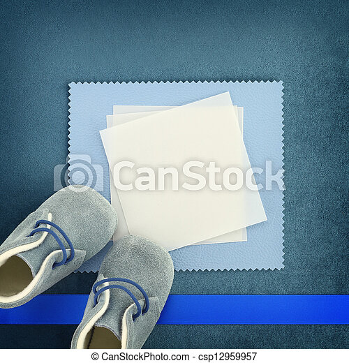 Blank card with baby shoes on blue background - csp12959957
