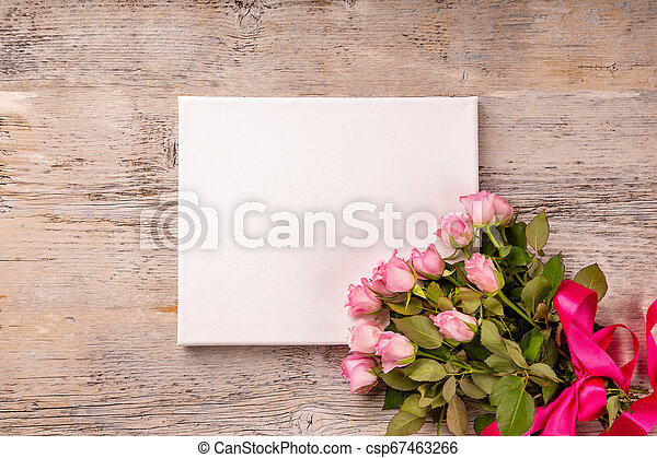Blank card with rose flower bouquet - csp67463266