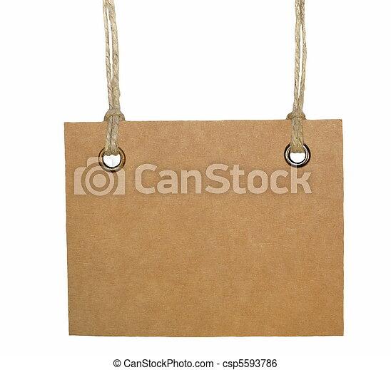 Blank cardboard tag tied - csp5593786